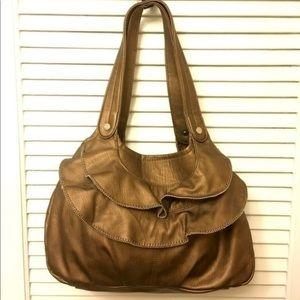 Elle Metallic Brown Ruffle Bag